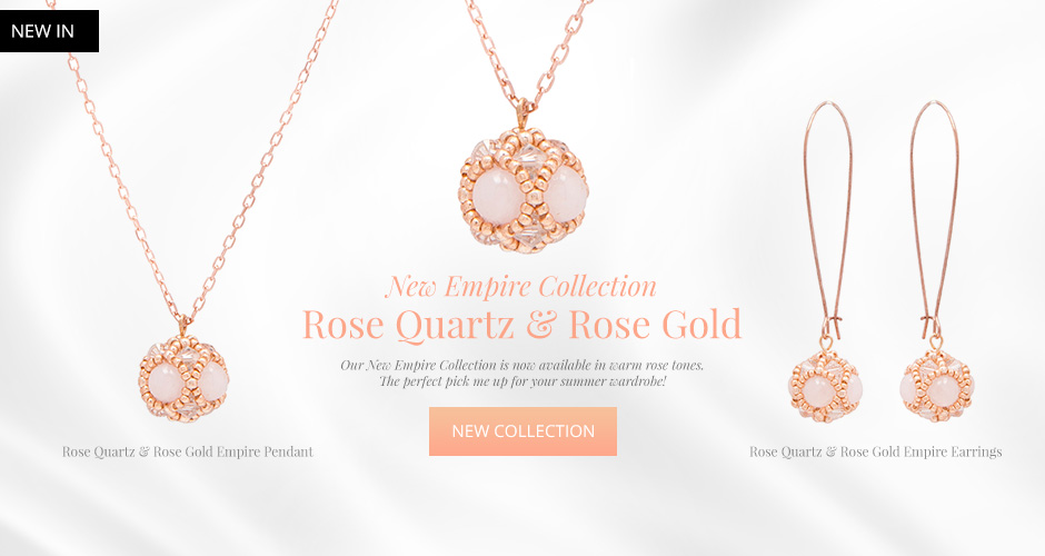 Rose Gold and Rose Quartz Pendants and Earrings - New Collection